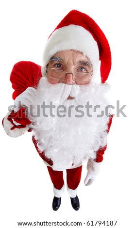 A distorted image of Santa standing with a sack isolated on white - stock photo