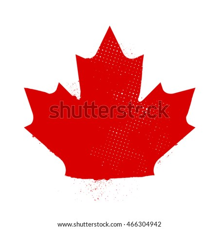 A distressed maple leaf symbol on a white background.