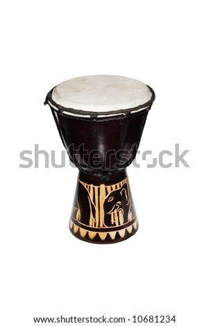 A Djembe (Tamtam) African drum isolated on white - stock photo