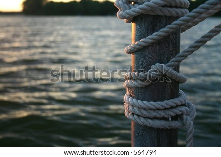 A Dock At Sunset - stock photo