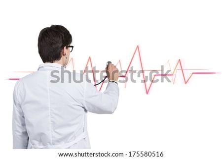 A doctor checking a heart rhythm 7 - stock photo