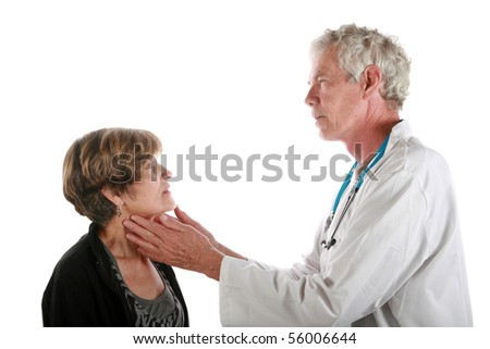 a doctor examines his patient  isolated on white