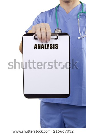 A doctor in blue uniform holding a clipboard with medical analysis. - stock photo