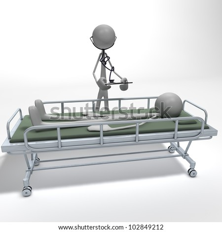 a doctor is examining his patient lying on a divan bed - stock photo