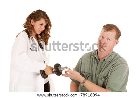 A doctor is giving lifting weights as her prescription for good health.  The patient does not like it. - stock photo