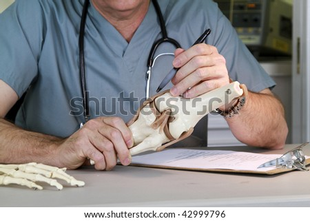 A doctor or intern studying a skeletal model of the human knee. - stock photo