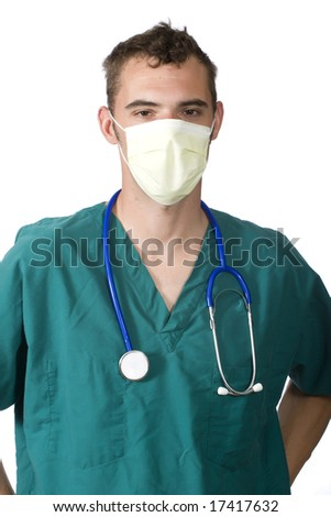 a doctor or nurse wearing a surgical mask