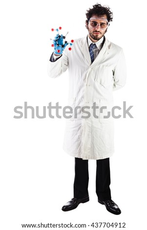 a doctor or researcher with a white lab coat holding a trinitrotoluene tnt molecular model isolated over white - stock photo