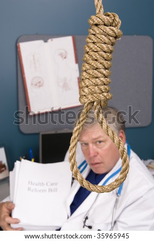 A doctor peers through a noose as he fights the bureaucracy of red tape and paperwork, rules, regulations and reform.  Paper left blank for copy. - stock photo