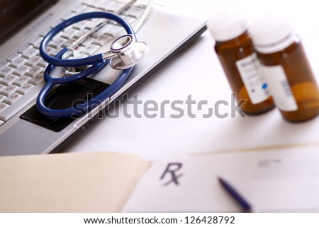 A doctor's medical stethoscope - stock photo