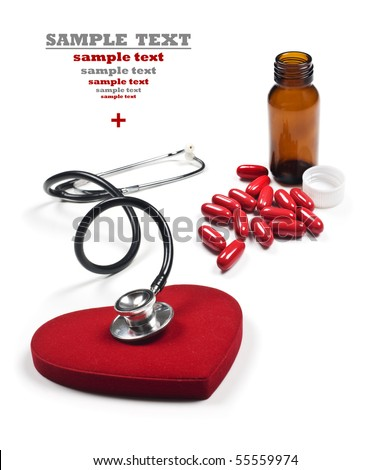 a Doctor's stethoscope listening to a healthy red heart with red pills and pill bottle on a white background with space for text - stock photo