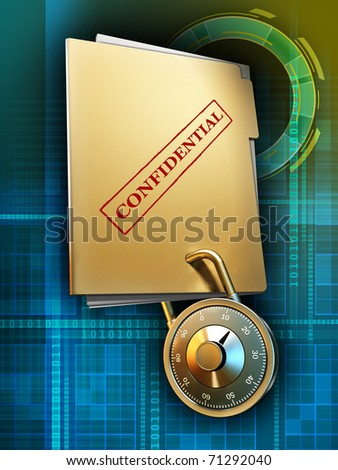 A document folder travels through cyberspace with its content protected by a combination lock. Digital illustration, included clipping path to separate main subject from background.