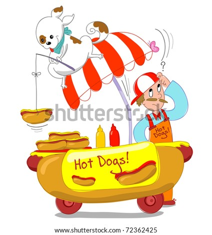 A dog is fishing an hot dog from a cart. Humorous Isolated image. - stock photo