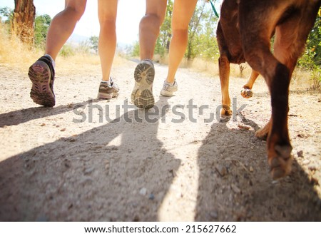 a dog out enjoying nature with two women - stock photo