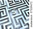 A dollar sign in the middle of a maze, symbolizing the solution for making money - stock photo