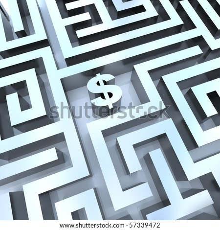 A dollar sign in the middle of a maze, symbolizing the solution for making money