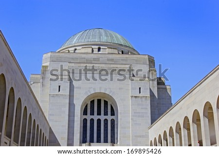 A dome of the War Memorial in Canberra Australia - stock photo