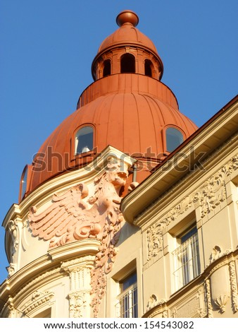 A dome roof and stuccowork A corner tower with many nice stuccoworks.  - stock photo