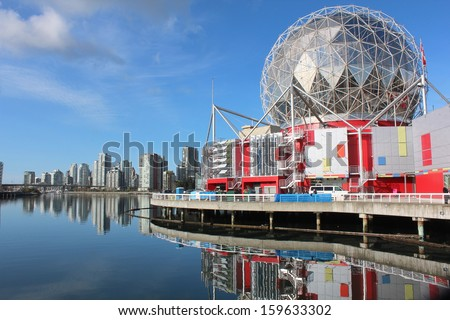 A domed pavilion, Vancouver's legacy to Expo 86, overlooks False Creek/Vancouver's False Creek/A domed pavilion, Vancouver's legacy to Expo 86, overlooks False Creek - stock photo