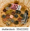 A donation basket for collection. Donation of ? - stock photo