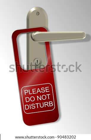 A door handle and a red sign spelling do not disturb / Do not disturb - stock photo