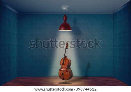 A Double Bass On A empty room