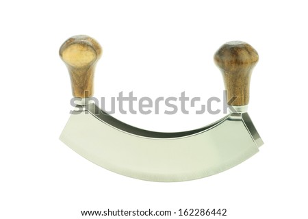 A double bladed herb-cutter or Mezzaluna. Isolated on a white background. - stock photo