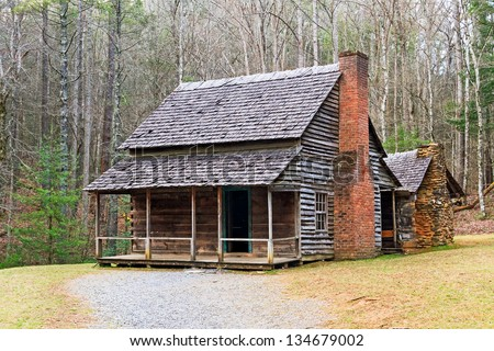 A double cabin owned by Henry Whitehead along Forge Creek in Cades Cove, Great Smoky Mountains National Park, Tennessee, USA - stock photo