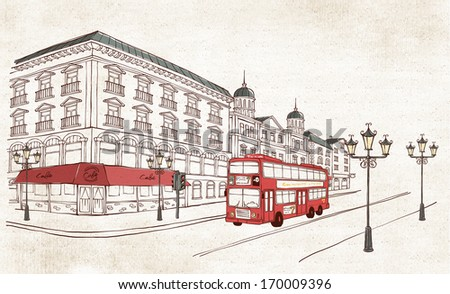 A double decker bus red in color. - stock photo