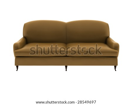 a double leather sofa isolated with white background