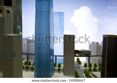 a downtown and skyscrapers in focus model - stock photo