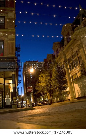 A downtown night scene in the city of Providence Rhode Island. - stock photo