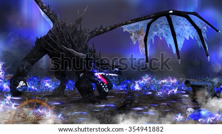 A dragon with blue flames holding an empty bottle amid a fantasy landscape with blue crystals and pirate type props. - stock photo