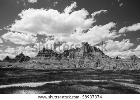 A dramatic black and white image from the Badlands national park in South Dakota - stock photo