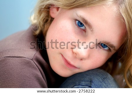 A dreamy look on my daughters face. - stock photo