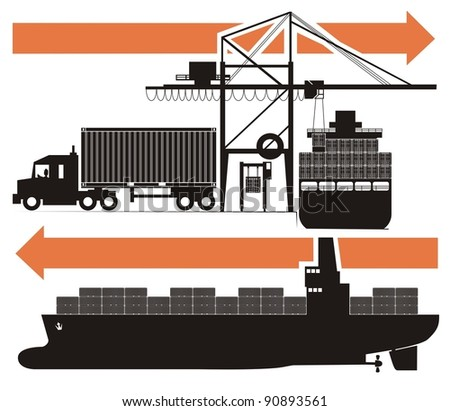 A drink/beverage/chemical compound from empty bottle to the consumer - raster cartoon illustration set in five schematic charts, Part Three, i.e. the shipping container are loaded on a container ship - stock photo