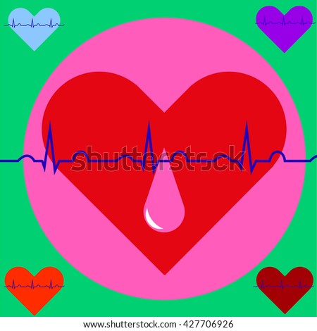 a drop of blood on the background of the heart and ECG, Blood Donor Day - stock photo