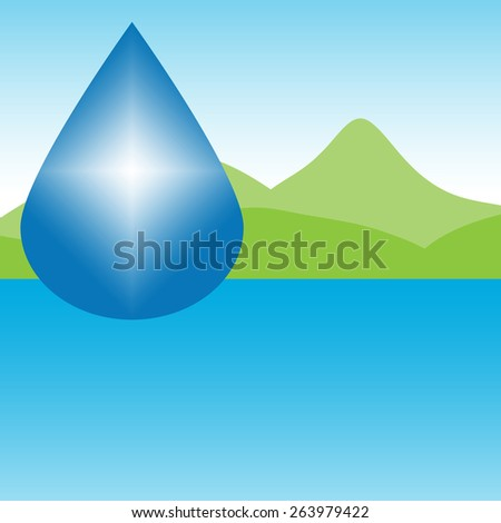A drop of clean water over a clear lake with green hills and clear, blue sky. Suggests water issues, water solutions, purified water. Room for ad copy. - stock photo