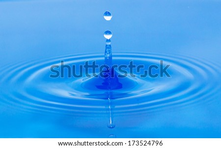 a drop of water falling in blue water. macro