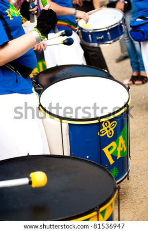 A Drums band on the street. Scenes of Samba Festival in Coburg, Germany - stock photo