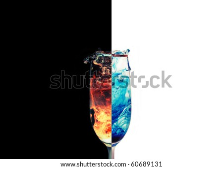 A dual photo of a splashing glass - stock photo