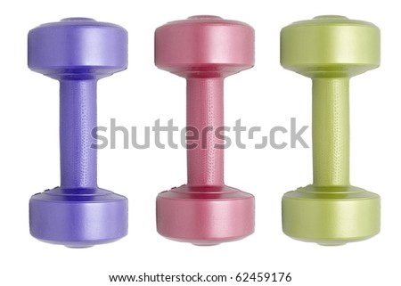 a dumbells on white - stock photo