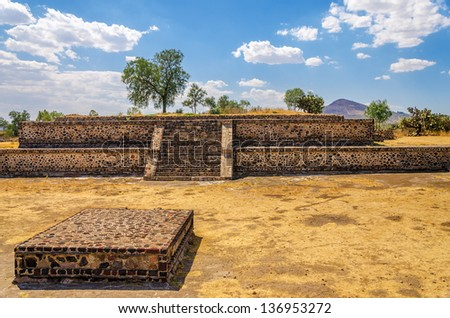 A dusty ancient courtyard in the ruins of Teotihuacan, Mexico - stock photo
