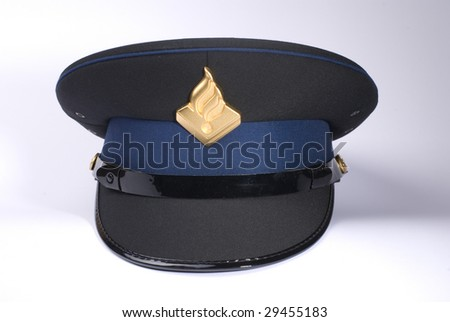 a Dutch police hat, against a white background - stock photo