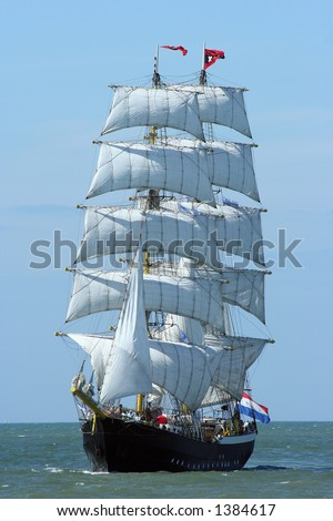 A Dutch sailboat at sea - stock photo