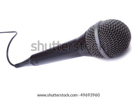 A dynamic mic with a curled cable isolated on white background