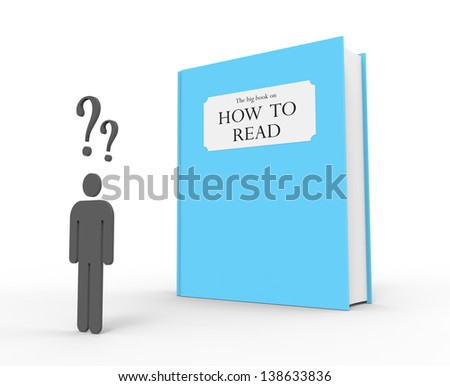 "A dyslexic person standing in front of a big blue book with the title ""The big book on how to read"""
