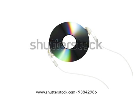 A earphone listening to a music compact disc, isolated against white.