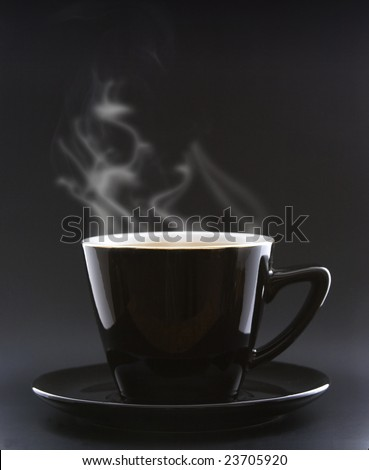 A elegant cup of coffee whit steam - stock photo