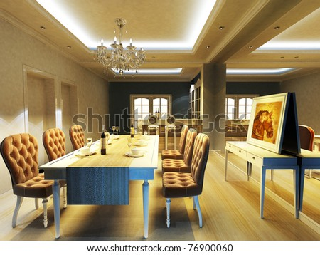 A elegant dinning room - stock photo